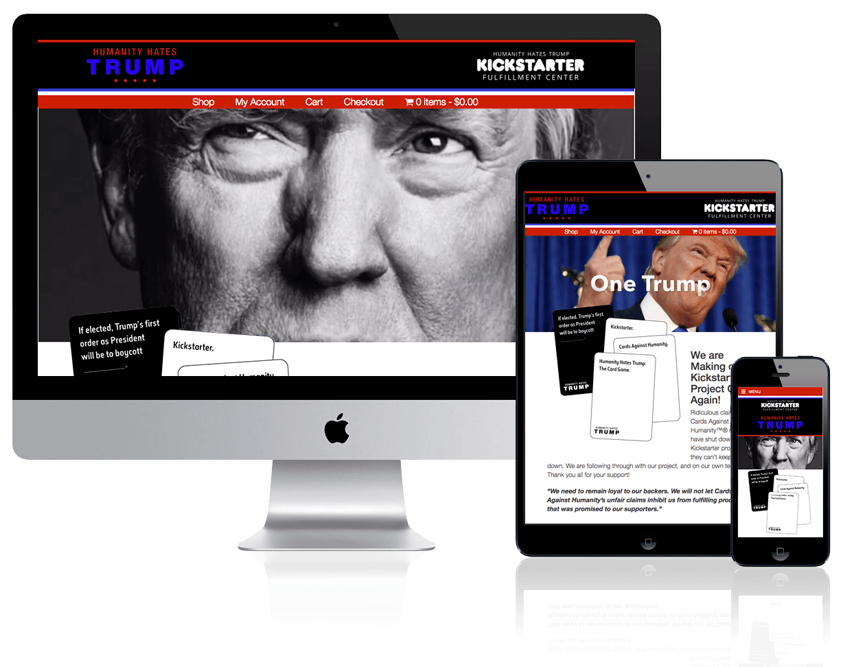 Humanity Hates Trump Kickstart Fulfillment Center, designed and built by Katie Peterson, Front-End Web Developer/Designer, and Mike Sacco, Web Manager, at SCS Direct, Inc. in Trumbull, CT