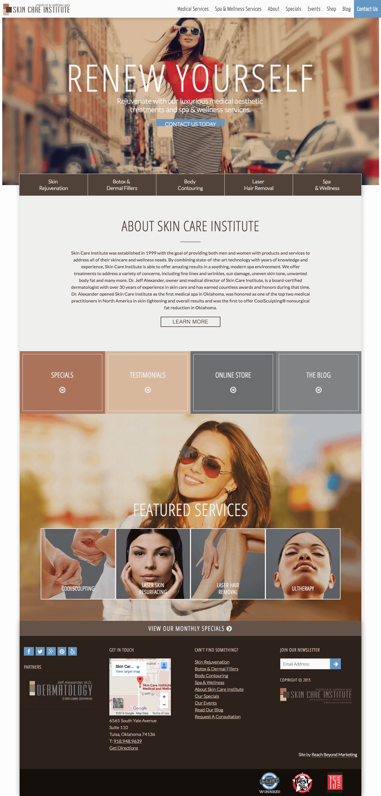 Skin Care Institute, collaborative website design by the Lead Web Developer and the Creative Director at Reach Beyond Marketing. Built by Katie Peterson, Web Designer/Developer at Reach Beyond Marketing