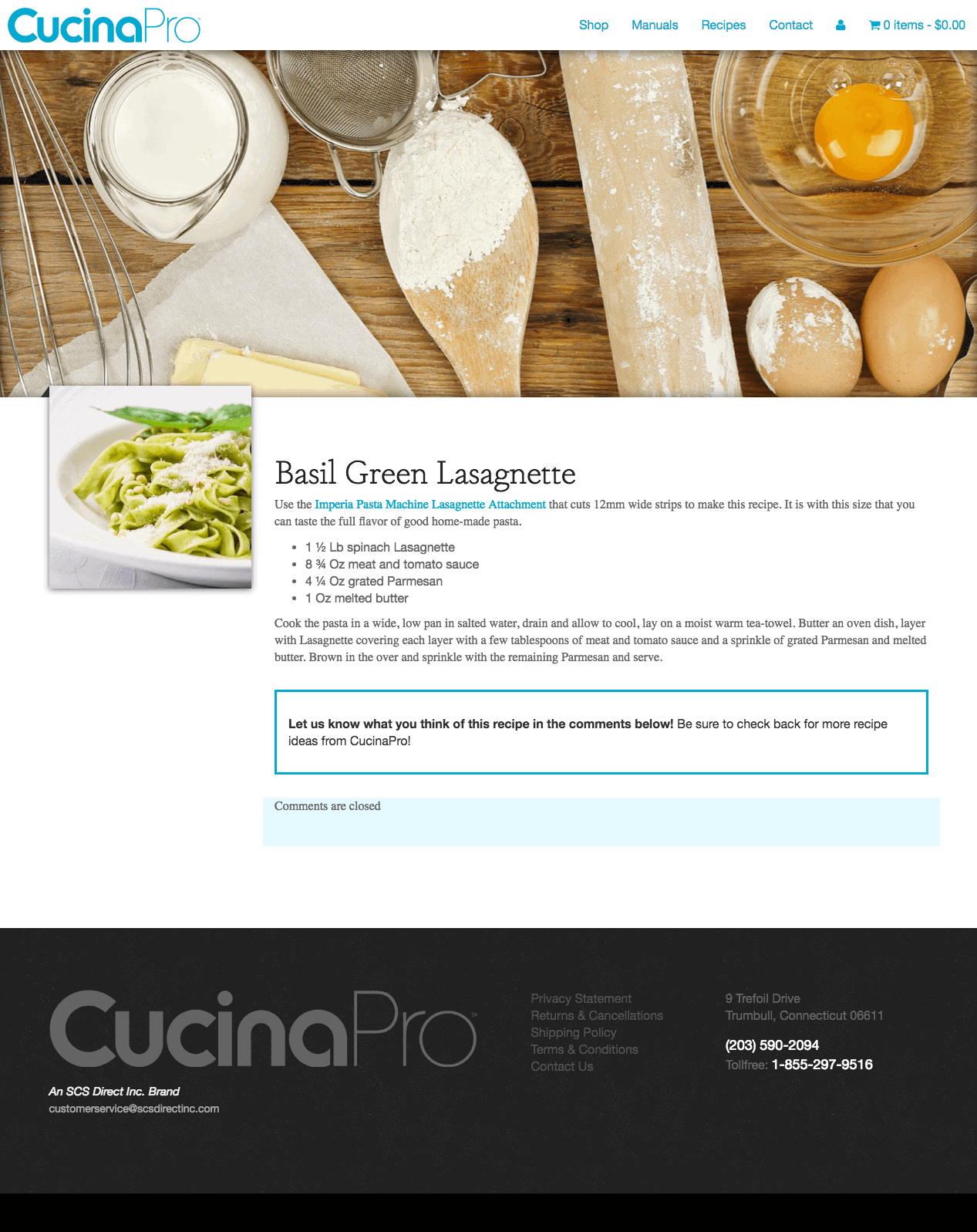 CucinaPro, website design and build by Katie Peterson, Front End Web Developer and Designer at SCS Direct Inc. in New Haven, Connecticut