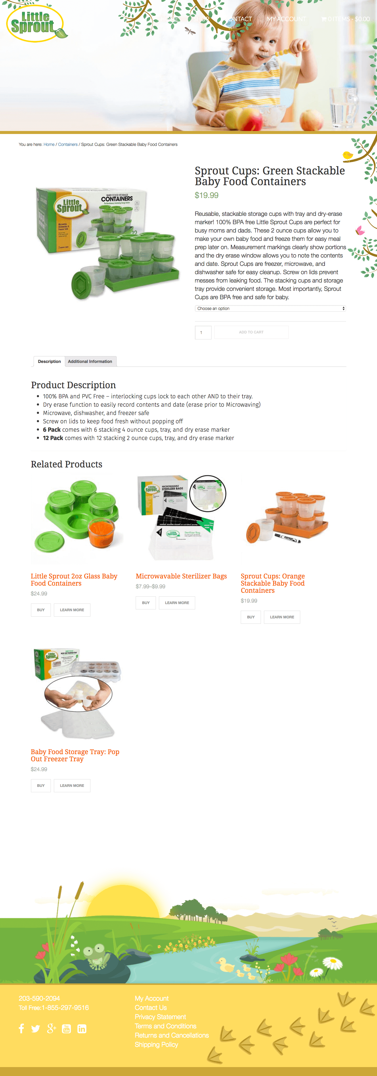Little Spout BPA + PVC Free Baby Food Containers and Accessories, website design and build by Katie Peterson, Front End Web Developer and Designer at SCS Direct Inc. in New Haven, Connecticut